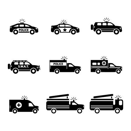 Emergency transportation icon set