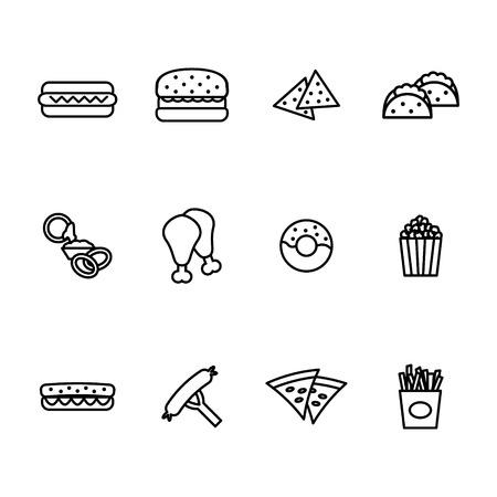 Fast food icon set. Ilustração