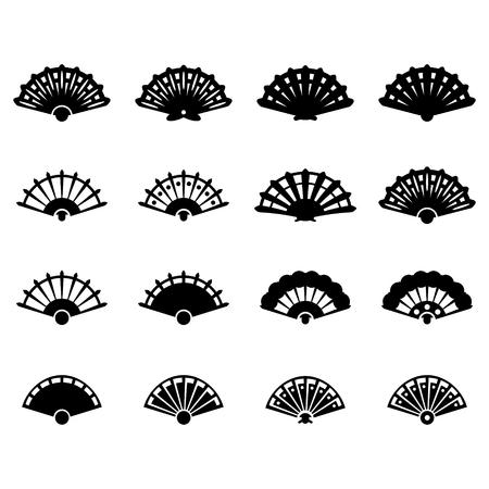 Hand fan icon set