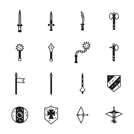 Medieval weapons icon set. Vector. Ilustração