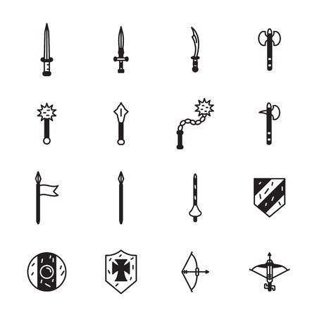 weapons: Medieval weapons icon set. Vector. Illustration