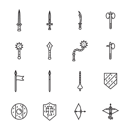 Medieval weapons thin line icon set. Vector.