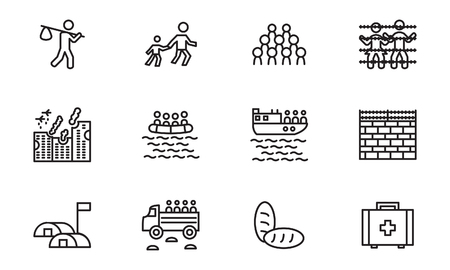 Refugee and migration thin line icon set. Vector.