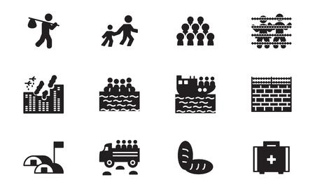 Refugee and migration icon set. Vector. Ilustração