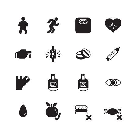 Diabetes icon set. Vector. Ilustração