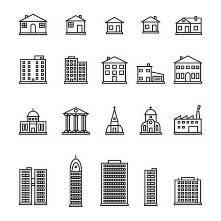 Thin line buildings icon set. Pixel perfect vector.