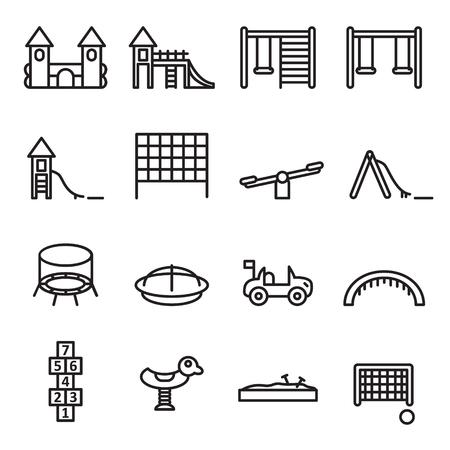 Playground thin line icon set. Vector.