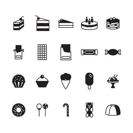 Sweets icon set. Vektor. Standard-Bild - 76384939