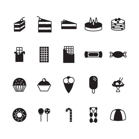 Sweets icon set. Vector.