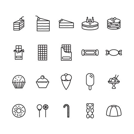 Sweets thin line icon set. Vector.