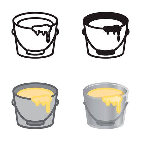 Farbeimer-Symbol in vier Varianten. Vektor-Icon-Set. Standard-Bild - 69677161