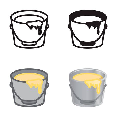 Paint bucket icon in four variations. Vector icon set.