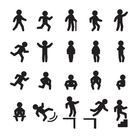 Menschen Icon-Set. Menschen Laufen, Gehen, Fallen, Stehen und Sitzen. Vektor. Standard-Bild - 70757947