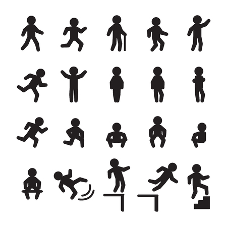 People icon set. People running, walking, falling, standing, and sitting. Vector. Ilustração