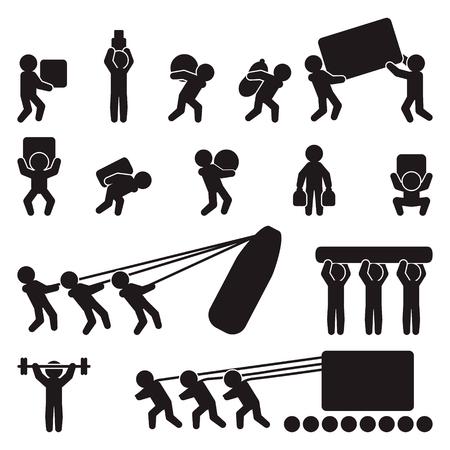 Conjunto de iconos de personas. Gente que carga y levanta carga pesada. Vector. Foto de archivo - 71327501