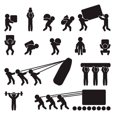 People icon set. People carrying and lifting heavy load. Vector.