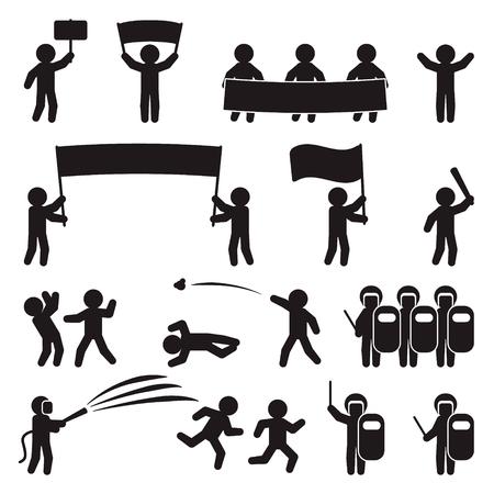 People icon set. Demonstration, protesting, parade and riot icon set. Vector Ilustração