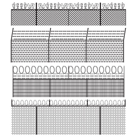 Barbed wire fence set. Vector