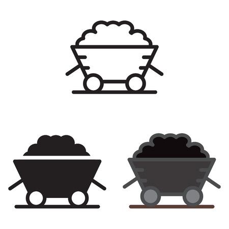 Coal trolley icon vector illustration.