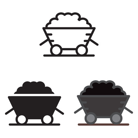Coal trolley icon vector illustration.
