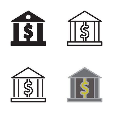 Bank icon in four variations vector.