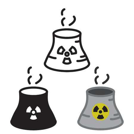 Kerncentrale pictogram in drie variaties vector. Stock Illustratie