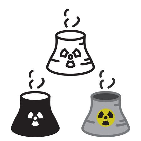 Nuclear power plant icon in three variations vector. Ilustração