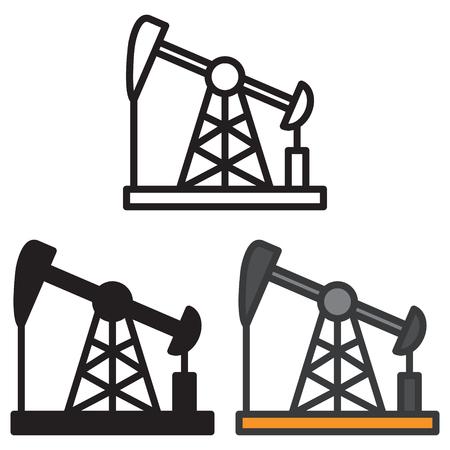 Oil field energy derrick icon in three variations vector. Ilustração