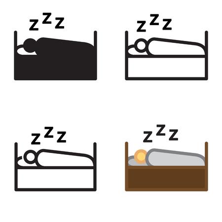 4 つのバリエーションのベクトルのアイコンを眠っている人。  イラスト・ベクター素材