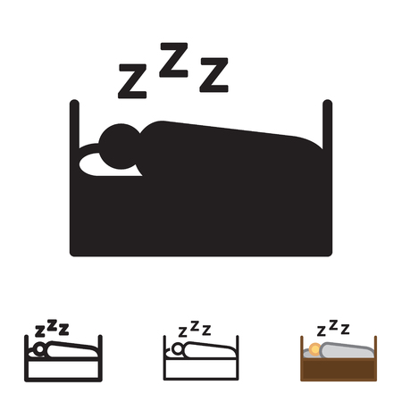 Person sleeping icon in four variations vector. Stock Vector - 88641335