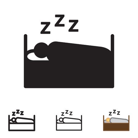 Schlafende Ikone der Person im Vektor mit vier Veränderungen. Standard-Bild - 88641335