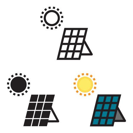 Solar panel energy icon in three variations vector. Ilustração