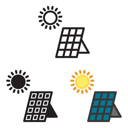 Sonnenkollektorenergieikone im Vektor mit drei Veränderungen. Standard-Bild - 88641338
