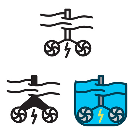 Tidal energy icon vector in three variations vector.