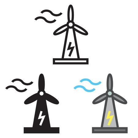 Wind Turbine icon in three variations vector. Ilustração