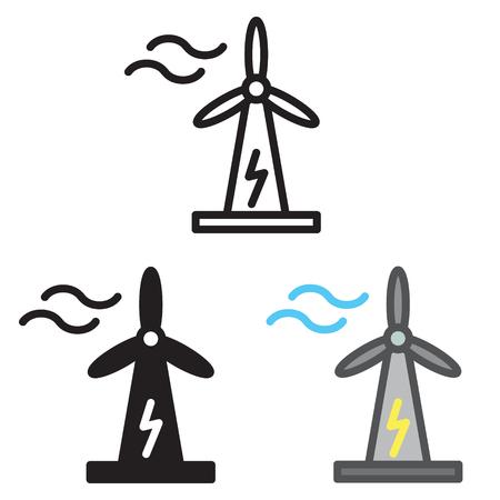 Windturbine pictogram in drie variaties vector. Stock Illustratie