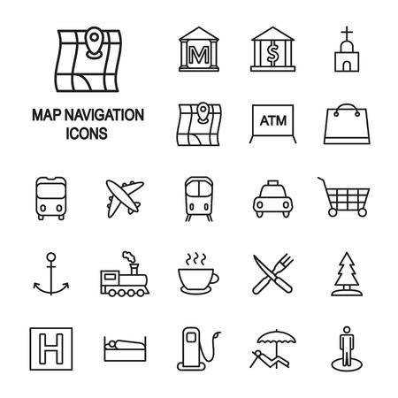 Icono de delgada línea de leyenda de navegación de mapa establece vector.