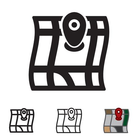 Kartenikone im Vektor mit vier Veränderungen. Standard-Bild - 88641346