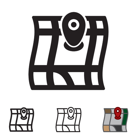 Map icon in four variations vector.