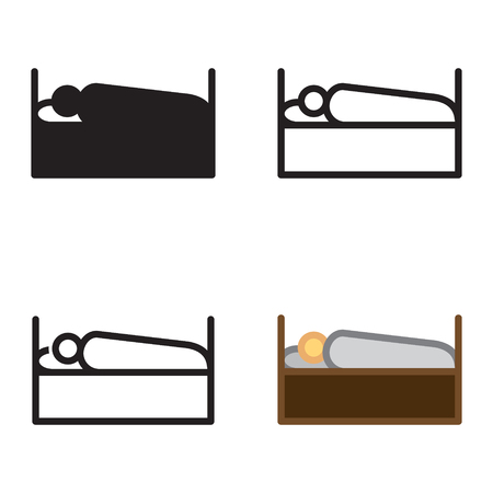 Person sleeping icon in four variations vector.