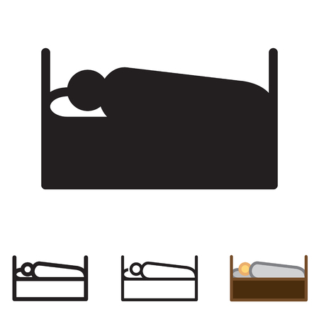 Person sleeping icon in four variations vector. Stock Vector - 88641347