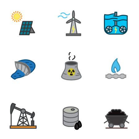 Gesetzte Vektorillustration der Energieikonen. Standard-Bild - 88641348