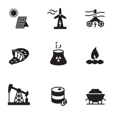 Energiepictogrammen geplaatst vectorillustratie.