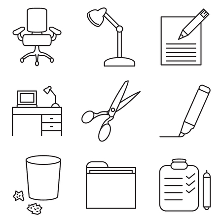 Office supplies icon set. Office icon set. Vector.