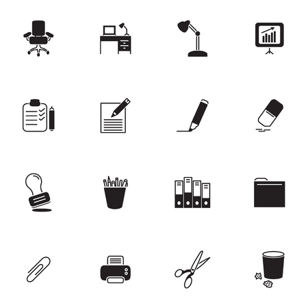 Office supplies vector icon set. 向量圖像