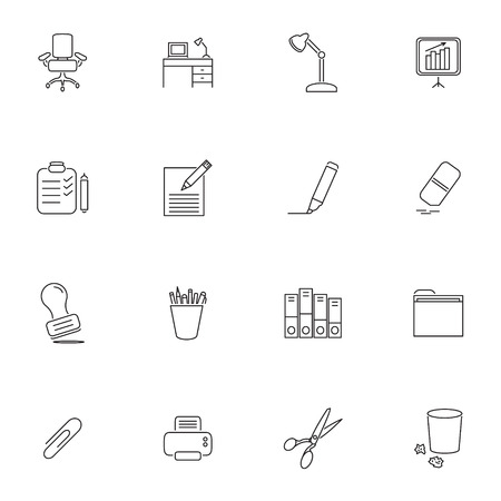 Office supplies thin line vector icon set. Ilustração