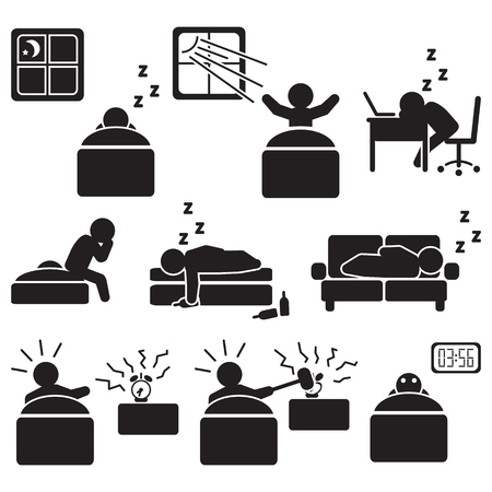 Sleeping people vector illustration.