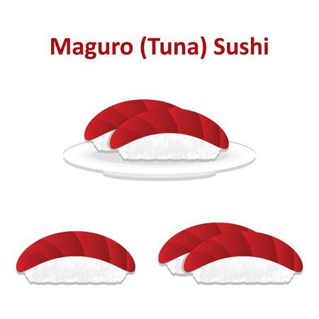 Nigiri sushi tuna icon set. Vector.