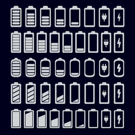 Battery icons set. Vector. Banco de Imagens - 98729946