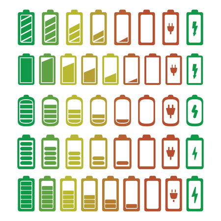 Batterie-Icons eingestellt . Vektor Standard-Bild - 98729945